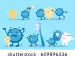 cute cartoon tooth with decay...   Shutterstock .eps vector #609896336
