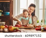 healthy food at home. happy... | Shutterstock . vector #609897152