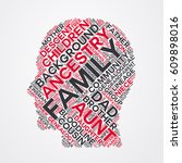 family word cloud head... | Shutterstock .eps vector #609898016