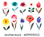 watercolor cartoon hand drawn... | Shutterstock . vector #609905012
