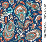 beautiful indian floral paisley ... | Shutterstock .eps vector #609917252