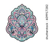 beautiful indian floral paisley ...   Shutterstock .eps vector #609917282