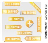 set of free shipping yellow... | Shutterstock .eps vector #609931112