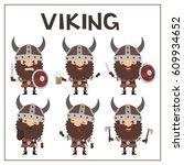 set vikings in helmet with...   Shutterstock .eps vector #609934652