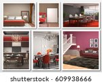 collage of modern home red...   Shutterstock . vector #609938666