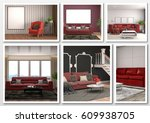 collage of modern home red... | Shutterstock . vector #609938705