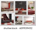 collage of modern home red... | Shutterstock . vector #609939452