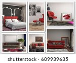 collage of modern home red... | Shutterstock . vector #609939635