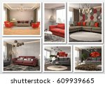 collage of modern home red... | Shutterstock . vector #609939665