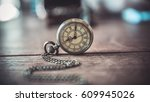 vintage clock watch necklace on ... | Shutterstock . vector #609945026