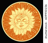 hand drawn sun with face and... | Shutterstock .eps vector #609950156