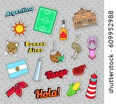 argentina travel elements with... | Shutterstock .eps vector #609952988