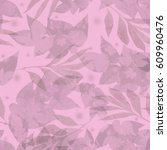floral pattern seamless nature... | Shutterstock . vector #609960476