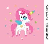 pony unicorn girl | Shutterstock .eps vector #609964892