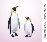 origami penguins. low polly... | Shutterstock .eps vector #609975875
