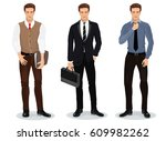 men in stylish clothes. set of... | Shutterstock . vector #609982262