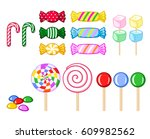 set of candies and other sweets ... | Shutterstock .eps vector #609982562
