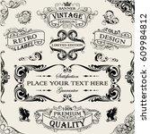 set of black banner ornamental... | Shutterstock .eps vector #609984812