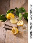 glass bowl of freshly squeezed... | Shutterstock . vector #609986012