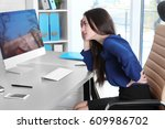posture concept. young woman...   Shutterstock . vector #609986702