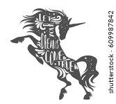 magic unicorn silhouette with...   Shutterstock .eps vector #609987842