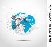 global network connection.... | Shutterstock .eps vector #609997292