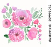 colorful floral watercolor... | Shutterstock . vector #609999092