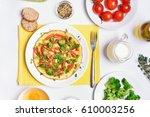 breakfast with omelet from...   Shutterstock . vector #610003256