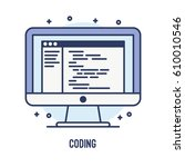 illustration of coding and... | Shutterstock .eps vector #610010546