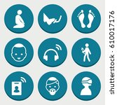 set of 9 man filled icons such... | Shutterstock .eps vector #610017176