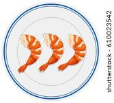 shrimp cocktails on the plate...   Shutterstock .eps vector #610023542