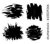 set of black paint  ink brush... | Shutterstock .eps vector #610029266