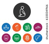 set of 9 person outline icons... | Shutterstock .eps vector #610034966