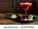 strawberry cocktail with lime... | Shutterstock . vector #610035866