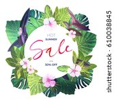 bright green vector floral... | Shutterstock .eps vector #610038845