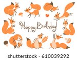 happy birthday card with cute... | Shutterstock .eps vector #610039292