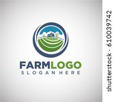 farm logo template with house... | Shutterstock .eps vector #610039742