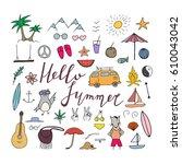hello summer hand drawn... | Shutterstock .eps vector #610043042