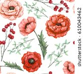 seamless pattern of watercolor... | Shutterstock . vector #610043462