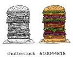 hand drawn tall beef burger ... | Shutterstock .eps vector #610044818
