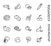 set of outline vector fruit and ... | Shutterstock .eps vector #610049306