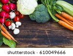 fresh organic vegetables with... | Shutterstock . vector #610049666