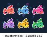 cartoon colorful fish stickers...   Shutterstock .eps vector #610055162