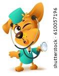 yellow dog doctor vet keeps...   Shutterstock .eps vector #610057196