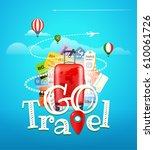 go travel concept. travel bag... | Shutterstock .eps vector #610061726