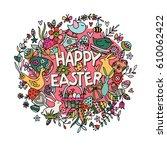 cartoon hand drawn doodle happy ... | Shutterstock . vector #610062422