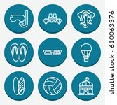 set of 9 fun outline icons such ... | Shutterstock .eps vector #610063376