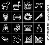 drawing icons set. set of 16... | Shutterstock .eps vector #610063646