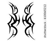 tattoo sketch tribal vector... | Shutterstock .eps vector #610065212