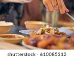 sliced grilled beef salad and...   Shutterstock . vector #610085312